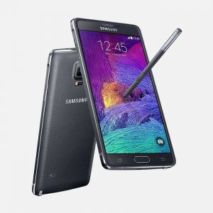 Samsung Galaxy Note 4 Black Front and Back View with Pen
