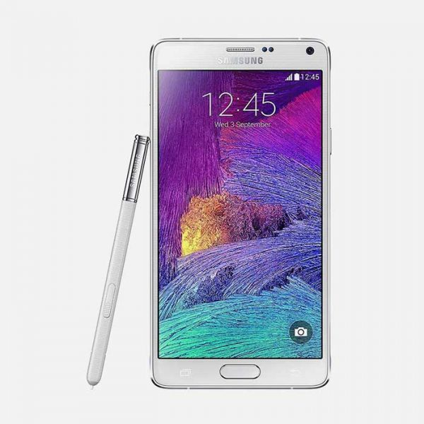 Samsung Galaxy Note 4 White Front View with Pen