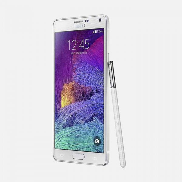 Samsung Galaxy Note 4 White Front Tilted with Pen