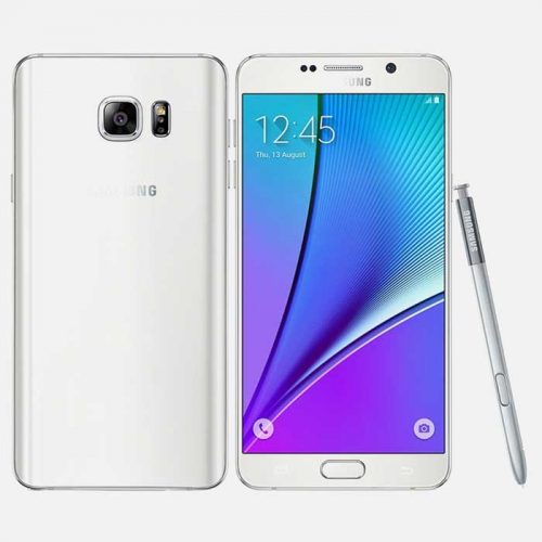 Samsung Galaxy Note 5 White Front and Back with Samsung Pen