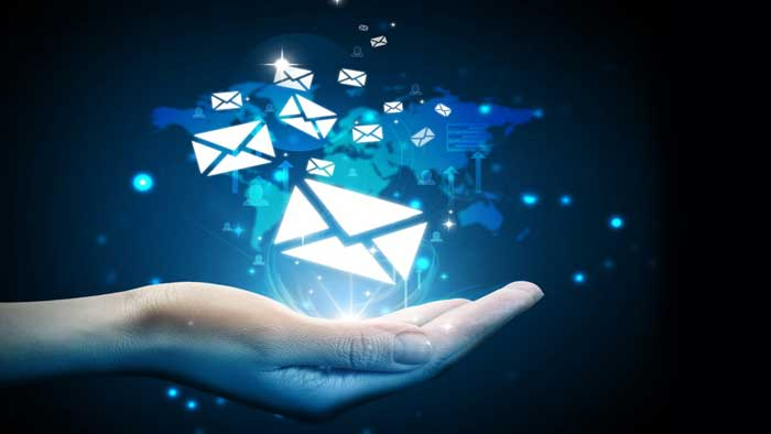 Hand Emitting Blue Email Images