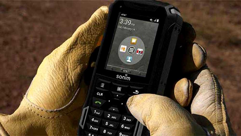 Sonim XP5 in gloved hand