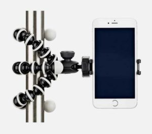Smartphone Joby GorrilaPod add on holds device upright off a pole