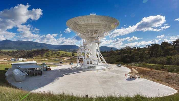 Real Large Antenna under the Blue Sky and clouds