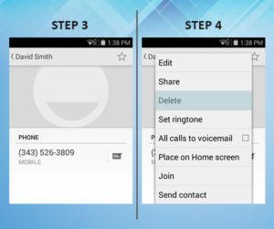 Sonim XP6 Troubleshooting Delete Contact 3-4