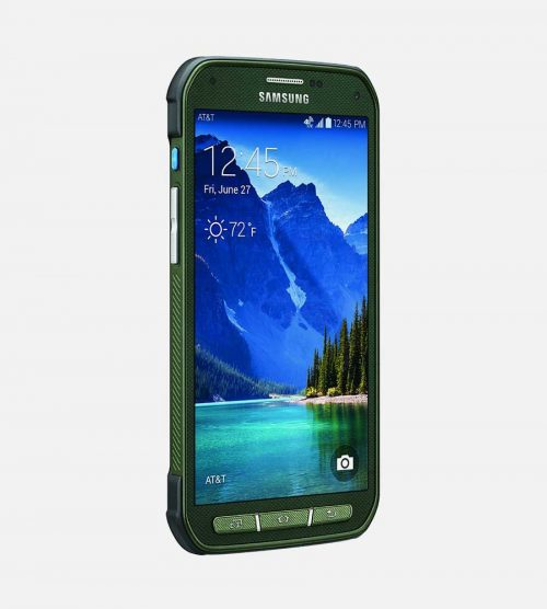 Samsung Galaxy S5 Active Green Front Tilted
