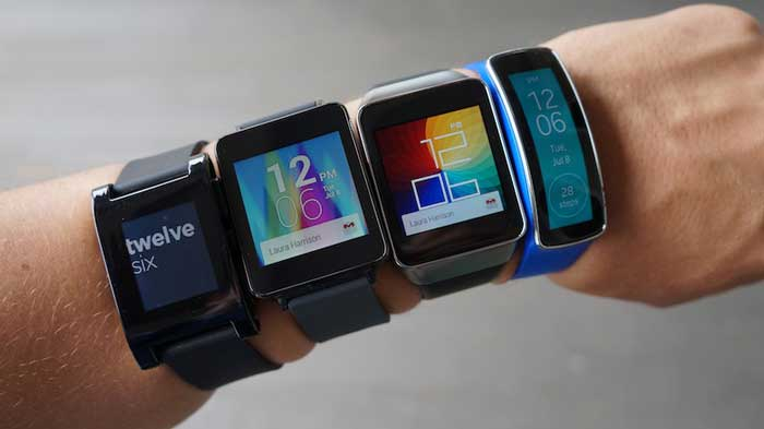 4 Smartphones lined up on Left Wrist