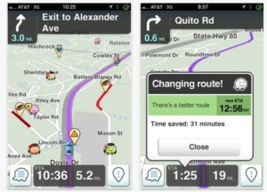 Waze app as 2 screenshots