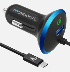 Maxboost USB C car charger and cable white background