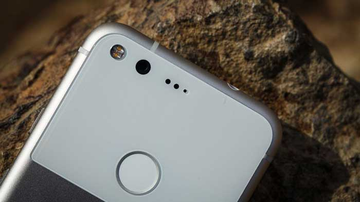Back of Google Pixel on rock