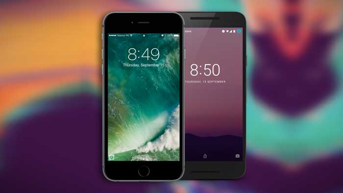 Apple and Android phones comparison, colored background