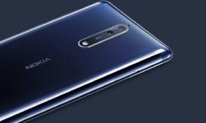 Nokia 8 on blue