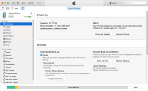 Backing up iPhone in iTunes