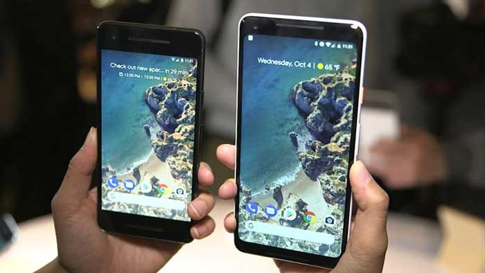 Google Pixel 2 and Google Pixel 2 xl being held - Google Preferred Care