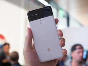 Google Pixel 2 held up by hand