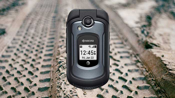 Kyocera DuraXE in Front of Tire Marks in Mud
