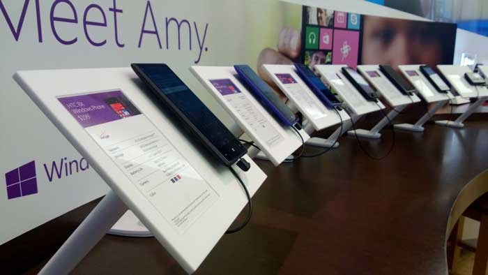 Many phones being sold in a store