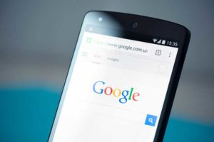 Google opened in a smartphone