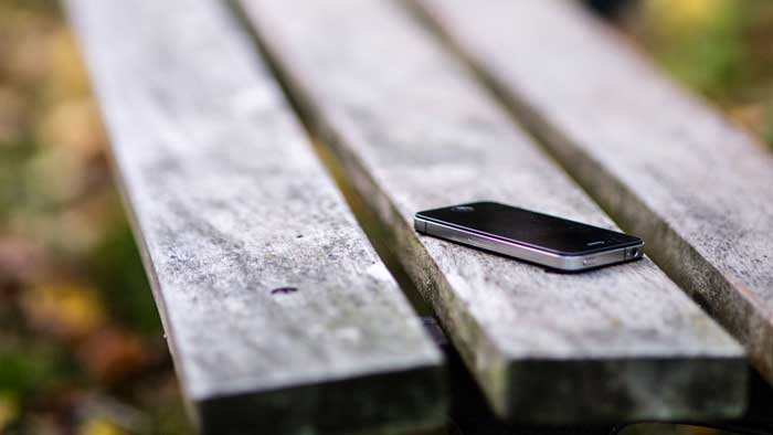 Lost phone on a park bench