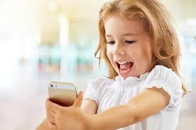 Little girl on her smartphone