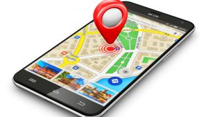 Smartphone with google maps open