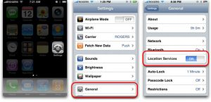 Steps to turn off location services on an iPhone