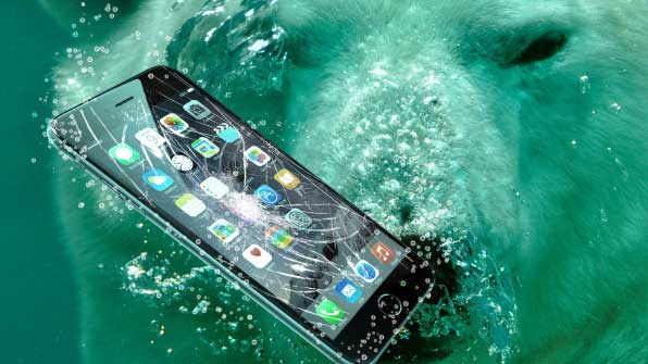 Apple iPhone submerged in water