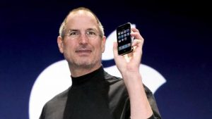 Steve Jobs Apple Founder releasing a new product