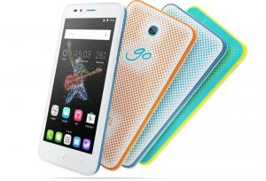 Alcatel GoPlay front back view in 4 colors