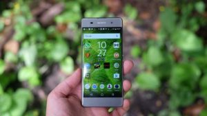 Sony Xperia XA held in front of leaves to take their picture