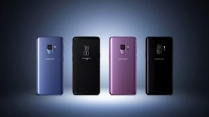 4 colored samsung s9's back view