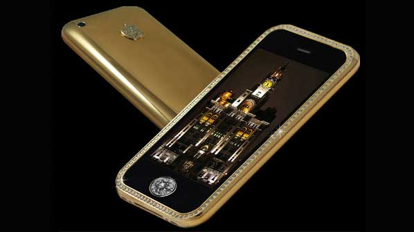 Gold iPhone case with diamonds