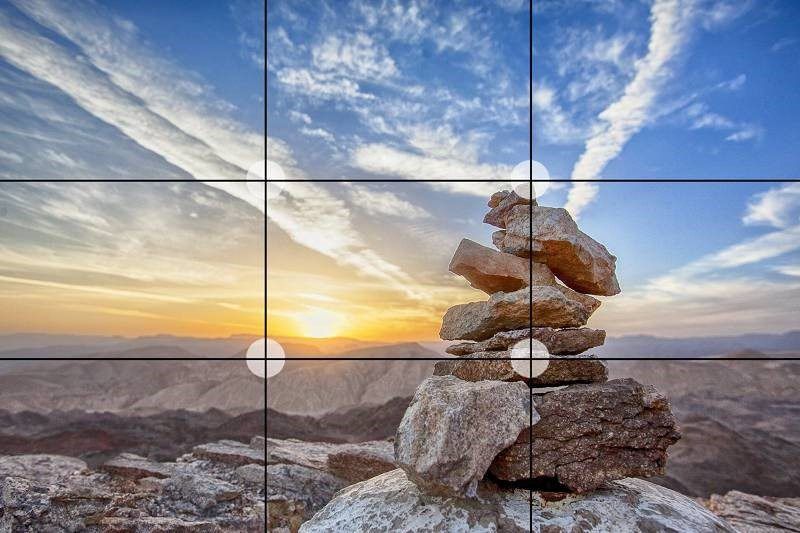 Teaching the rule of 3 in photography with a sceneric image of rocks and the horizon