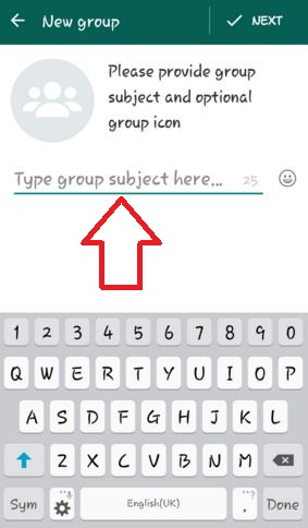 Screenshot showing how to start a whatsapp group