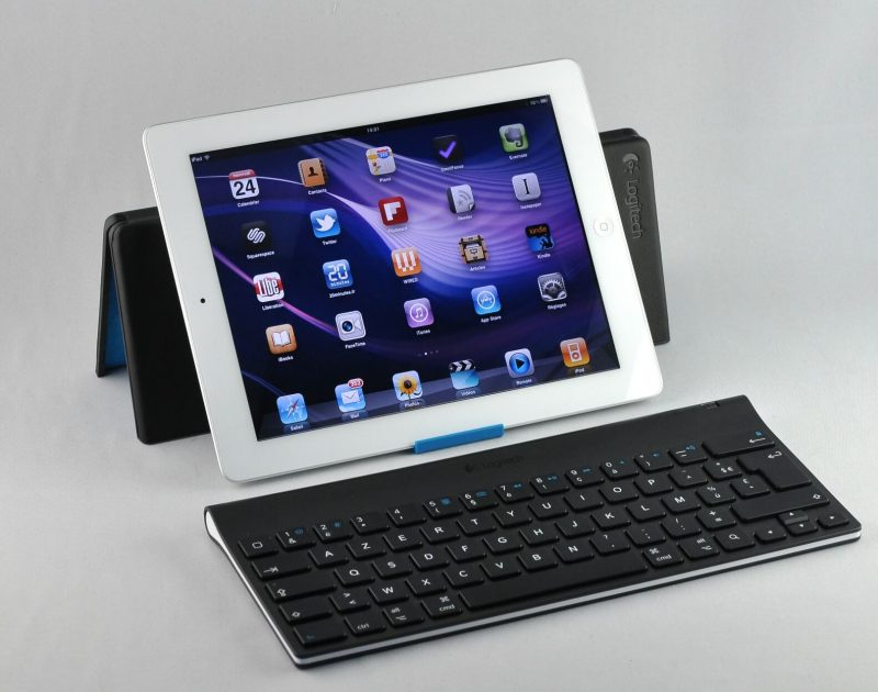 Tablet with a stand and keyboard connected