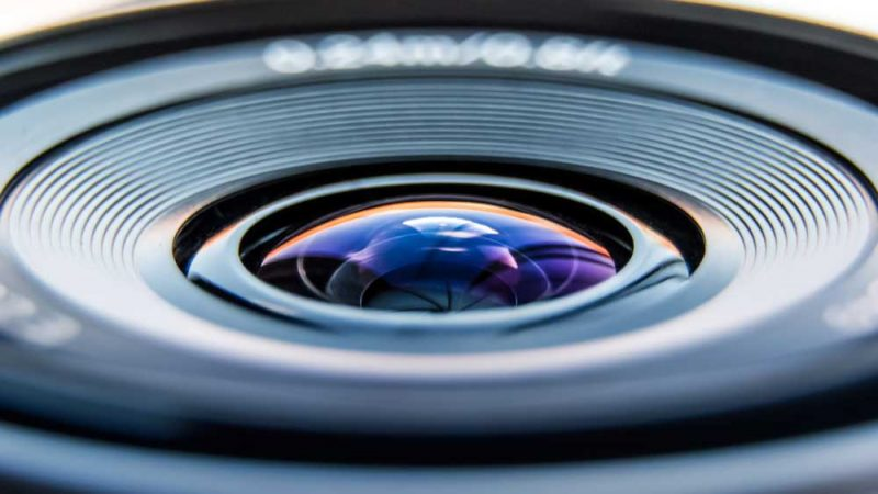 A sparkling clean camera lens
