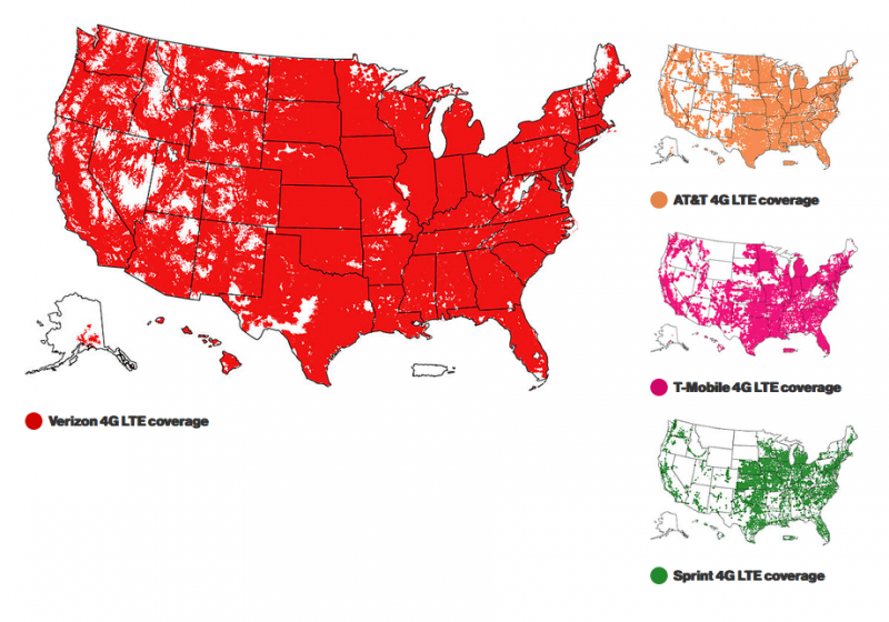 4 Biggest cell companies coverage on a map