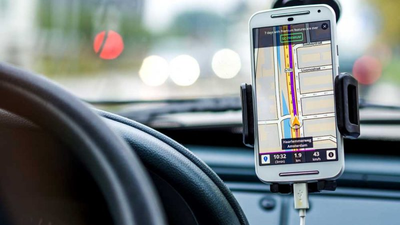 Smartphone being used as a GPS in a car