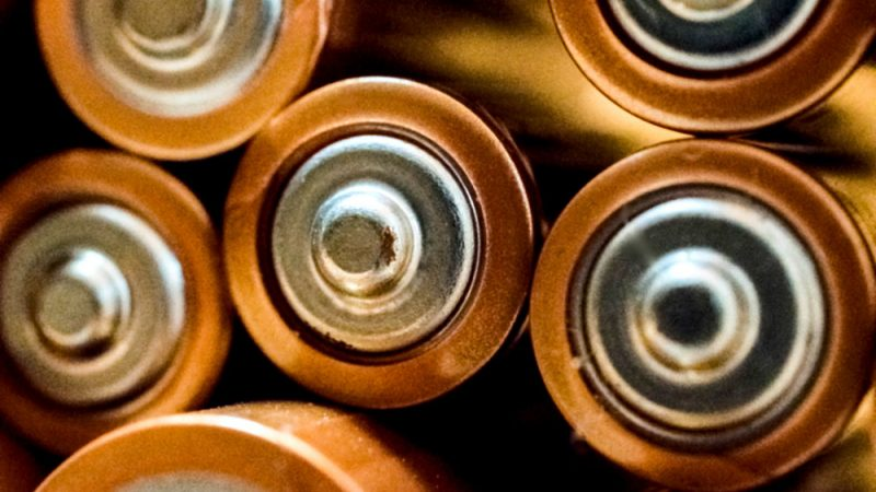 Zoomed in on a pile of AA batteries