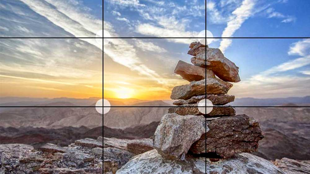 Stacked rocks sunset photo grid