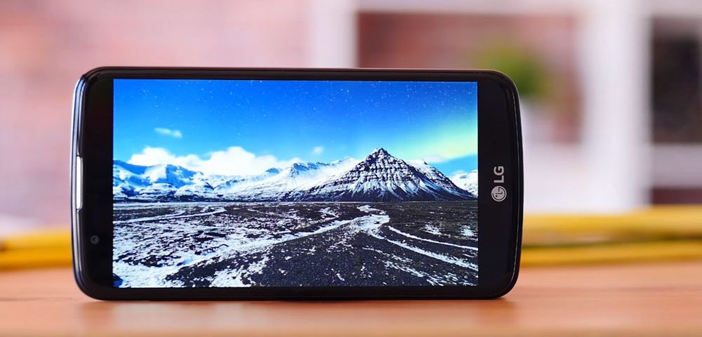 The LG K10 landscape view showing snow capped mountain scenery