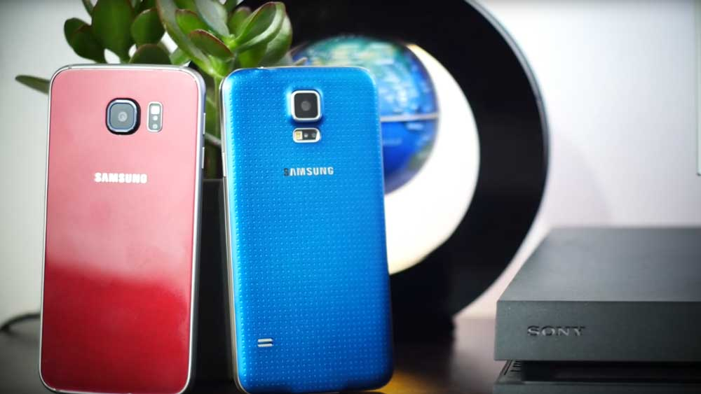 Two samsung galaxy devices being compared