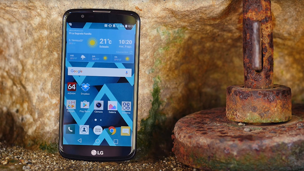 The LG K10 in a cave near a monument