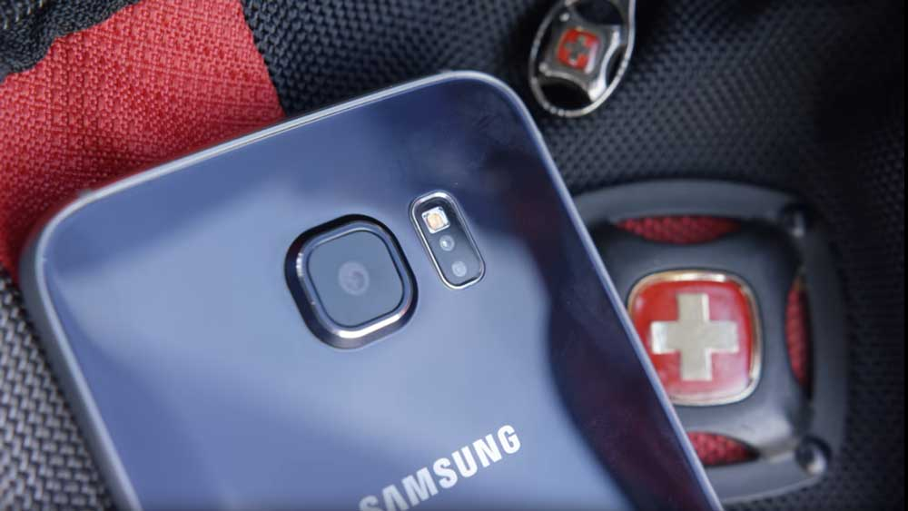 Samsung Galaxy S6 Camera being displayed while lying on a backpack