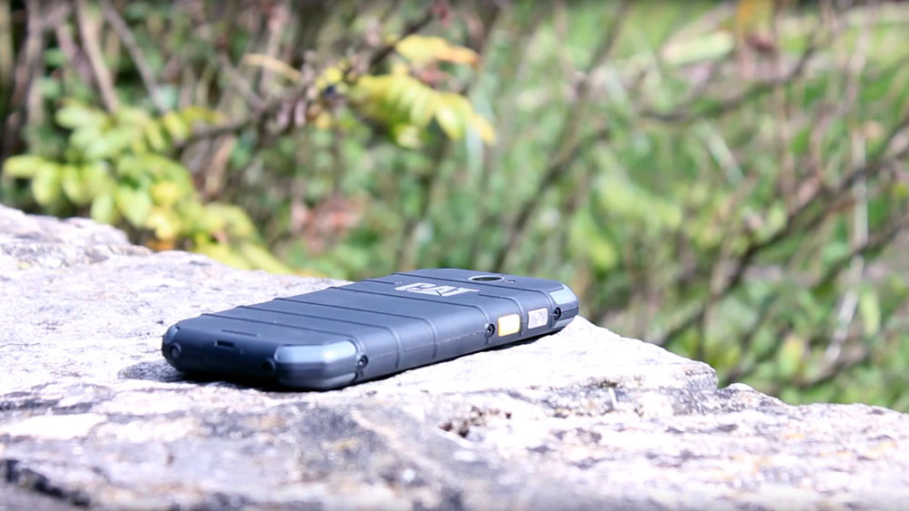 View of the Cat S30 on a rock