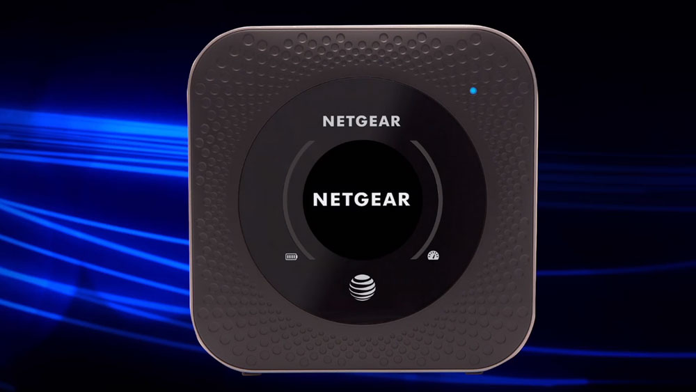 Netgear Nighthawk with a blue and black background