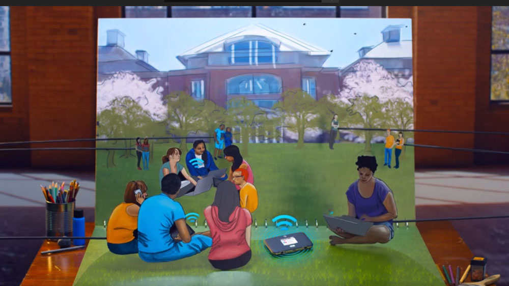 clipart people at the park using the Netgear Unite Express