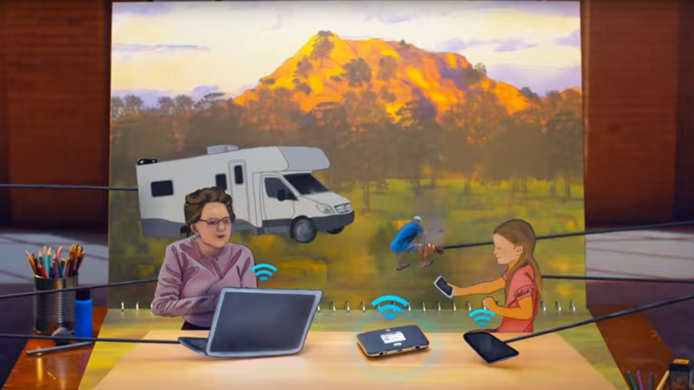 Netgear Unite Express at a clipart camping ground