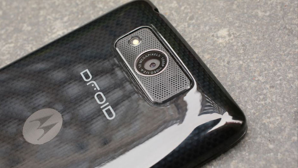 The back of the phone Motorola Droid Ultra showing the camera lens