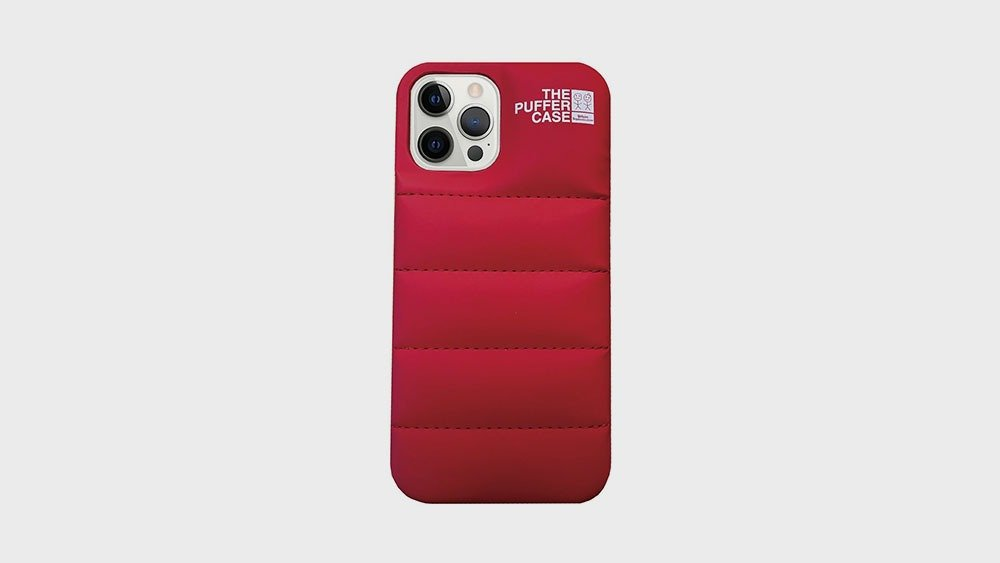 Red Puffer Phone Case Back View